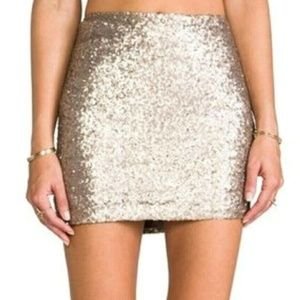 MM COUTURE Miss Me Gold Metallic Sequin Mini Skirt
